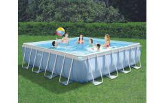 Каркасный бассейн для дома 427х427х107см + фильтр-насос + лестница Intex 28764