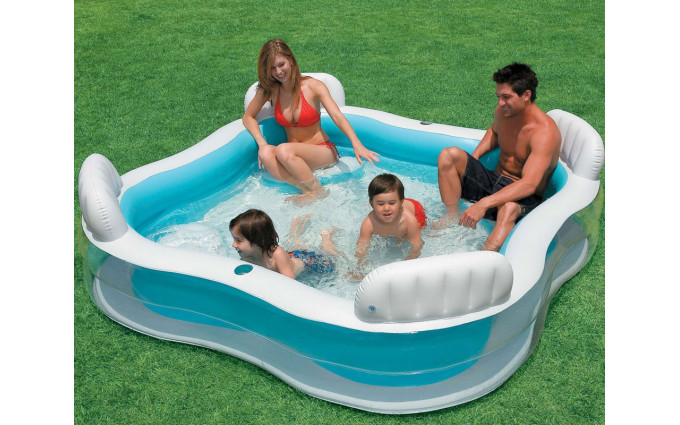 Бассейн семейный с сидениями и спинками 229х229х66см Intex 56475