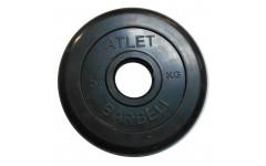Диск обрезиненный, чёрного цвета, 51 мм, 5 кг  Atlet