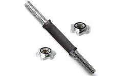 Гриф хром. 350 мм 30 мм замок кольцевая гайка, ручка с резин. покрытием